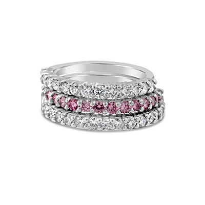 DJSP26/ Platinum Argyle Pink and White stack rings