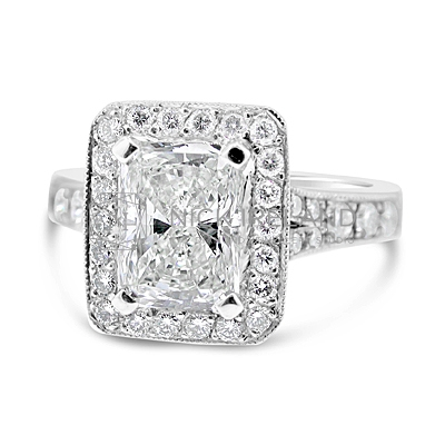 FSDR7/ Platinum 1.5ct Radiant Halo Engagement Ring