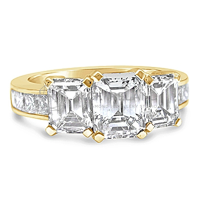FSDR10/ 18ct Gold 3ct Emerald Cut Trilogy Engagement Ring