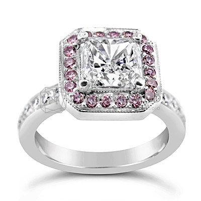 DJSP14/ Platinum Radiant Diamond Ring with Argyle Pink Diamonds