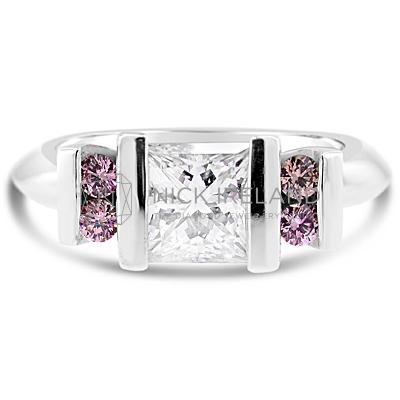 DJSP19/ Platinum Princess cut and Argyle Pink Diamond Ring