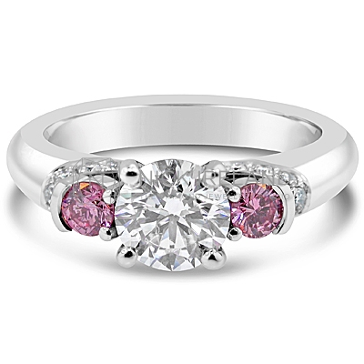DJSP10/ Platinum Engagement Ring with Argyle Pinks