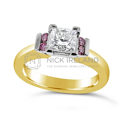 DJSP21/ 18ct Princess cut Engagement Ring with Argyle Pink Diamonds