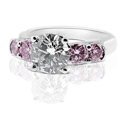 DJSP31/ Platinum Engagement Ring with Argyle Purple Pink Diamonds