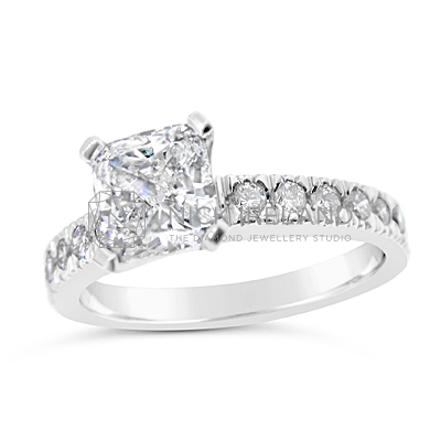 FSDR19/ Platinum 1.3ct Cushion Engagement Ring
