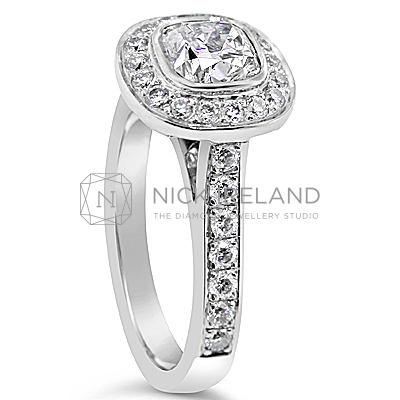 FSDR20/ Platinum 1ct  Cushion Halo Diamond Ring