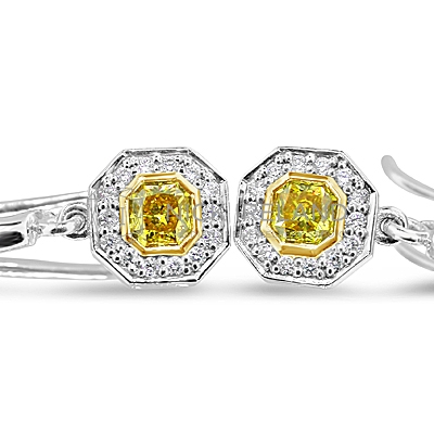 DE6/ 18ct White Gold Yellow Diamond Earrings