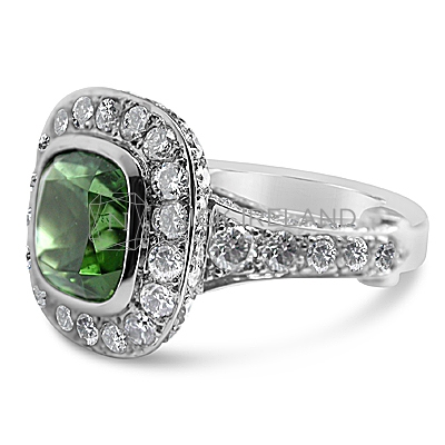 FSDR24/ 18ct White Gold Tourmaline and Diamond Ring