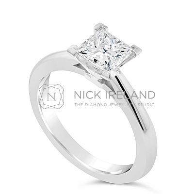 FSDS10/ Platinum 1ct Princess Cut Diamond Solitaire