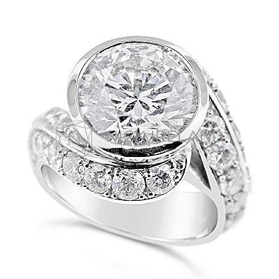 TDR35/ Platinum 5ct + Diamond Engagement Ring
