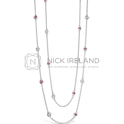 APDJ3/ 18ct White Gold Argyle Pink and White Diamond Necklace