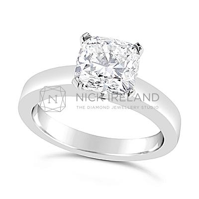 FSDS12/ Platinum 1.4ct  Cushion Cut Diamond Soliitaire