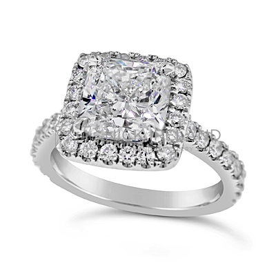 FSDR17/ Platinum 2ct Diamond Cushion Halo Ring