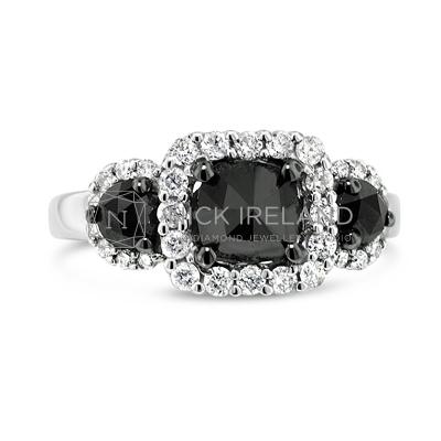 FSDR35/ 18ct White Gold Black Diamond Ring