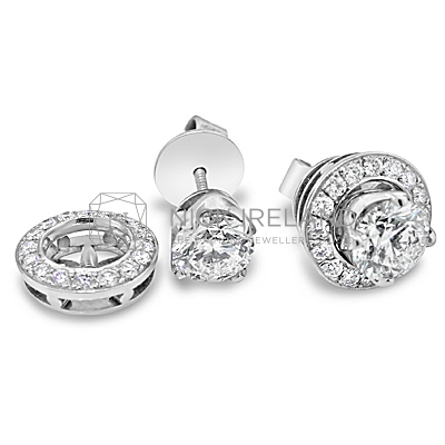 DE7/ 2ct Diamond halo earrings