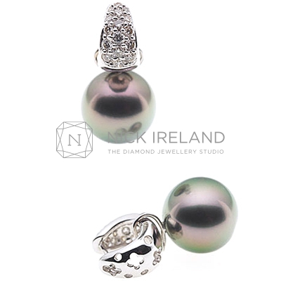 PJ4 / 18ct White Gold Tahitian Pearl Diamond Earrings