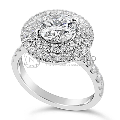 TDR/46 Platinum double halo diamond ring