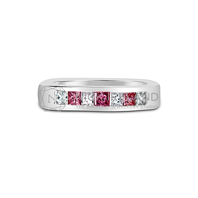 DJSP24/ Platinum Argyle Pink Wedding Ring