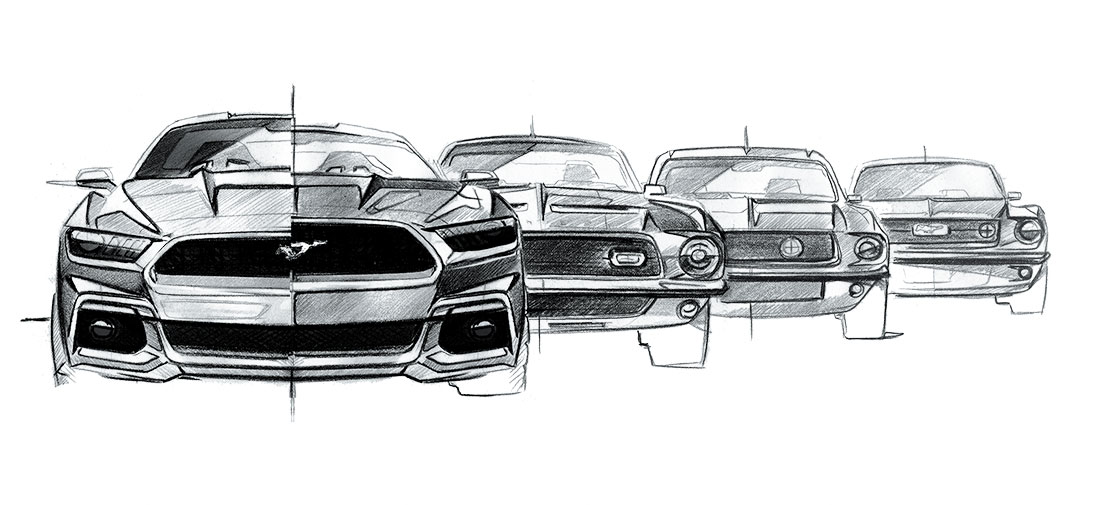 ford mustang family sketch