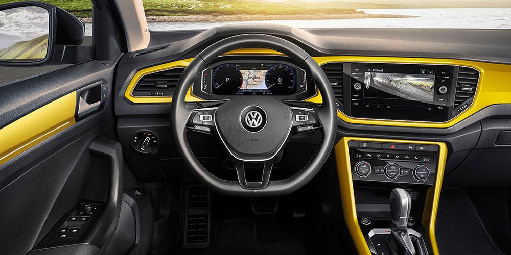 volkswagen t-roc interior with bright yellow trim