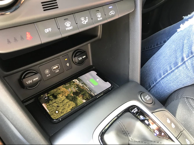 Wireless charging in the Hyundai Kona