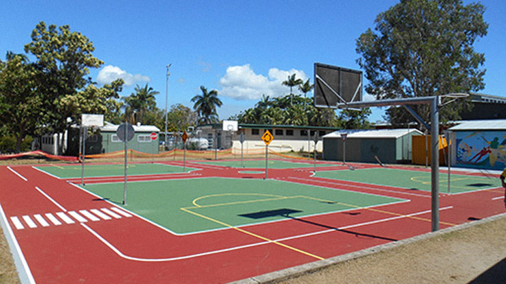 View of basketball and road simulation courts
