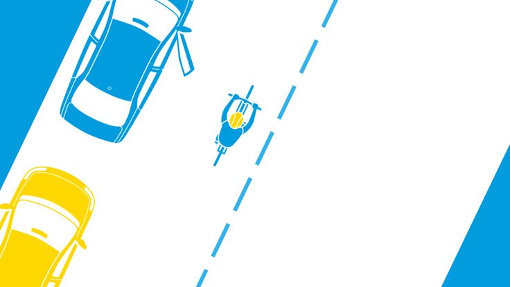Overhead illustration showing cyclist passing cars