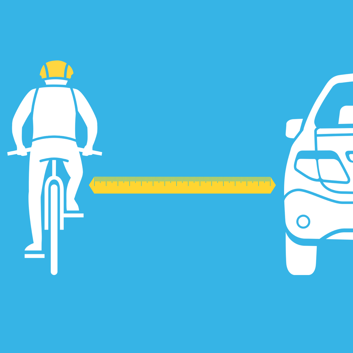 Animation style image depicting a car passing a bicycle rider at 1 metre.