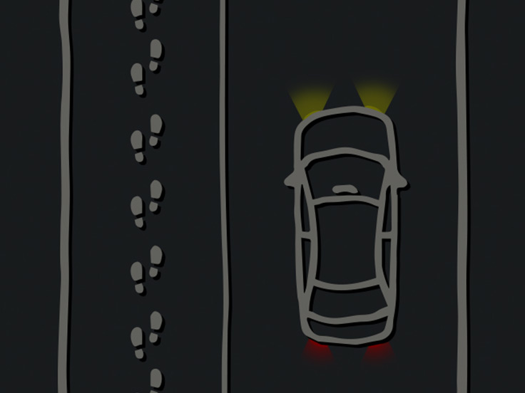 Cartoon of car and sidewalk with footprints going in a straight line on the sidewalk