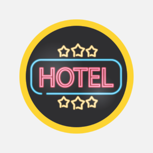 Illustration style image of a hotel sign