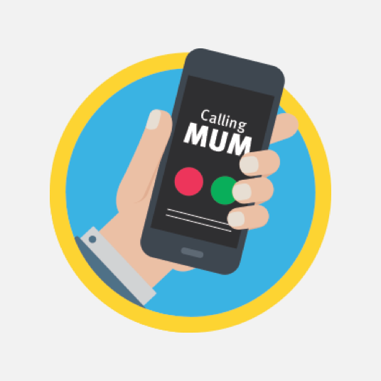 Illustration style image of a mobile with Mum on the screen