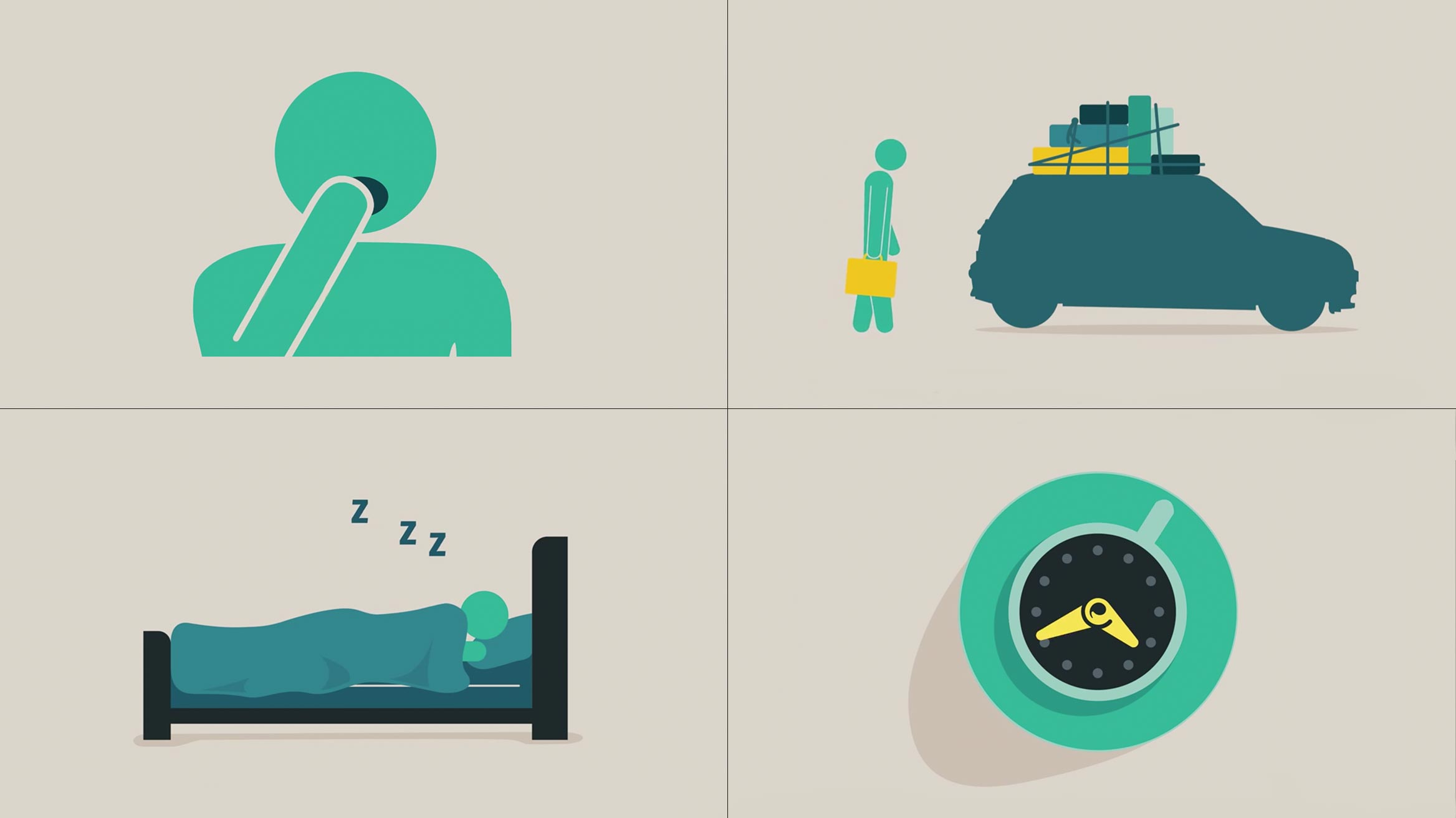 animation graphic of: a person yawning, car with luggage, person sleeping, clock