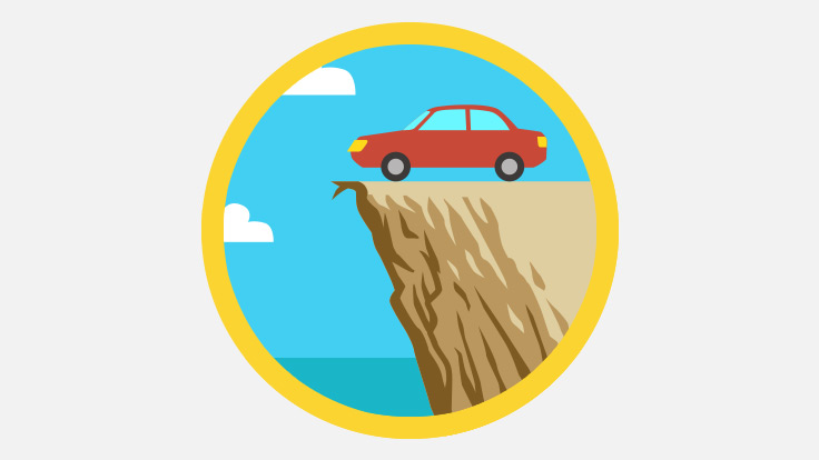 Animation style graphic showing a car at the edge of a cliff.