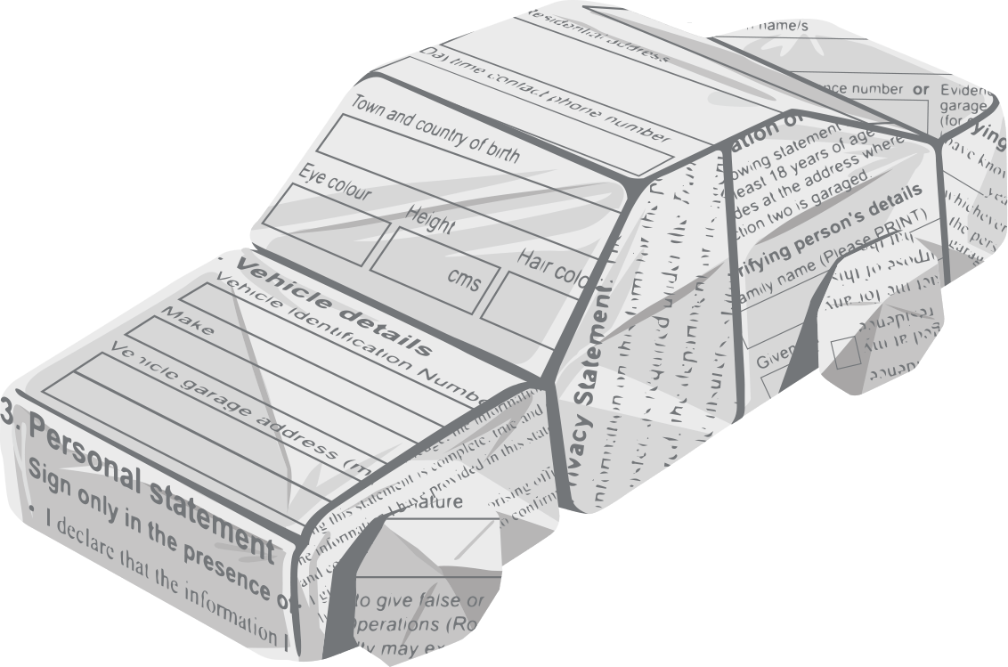 Animation style graphic showing a car shape made from folded paper statement.