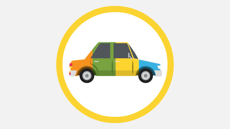 Animation style graphic showing a car painted in multiple colours.