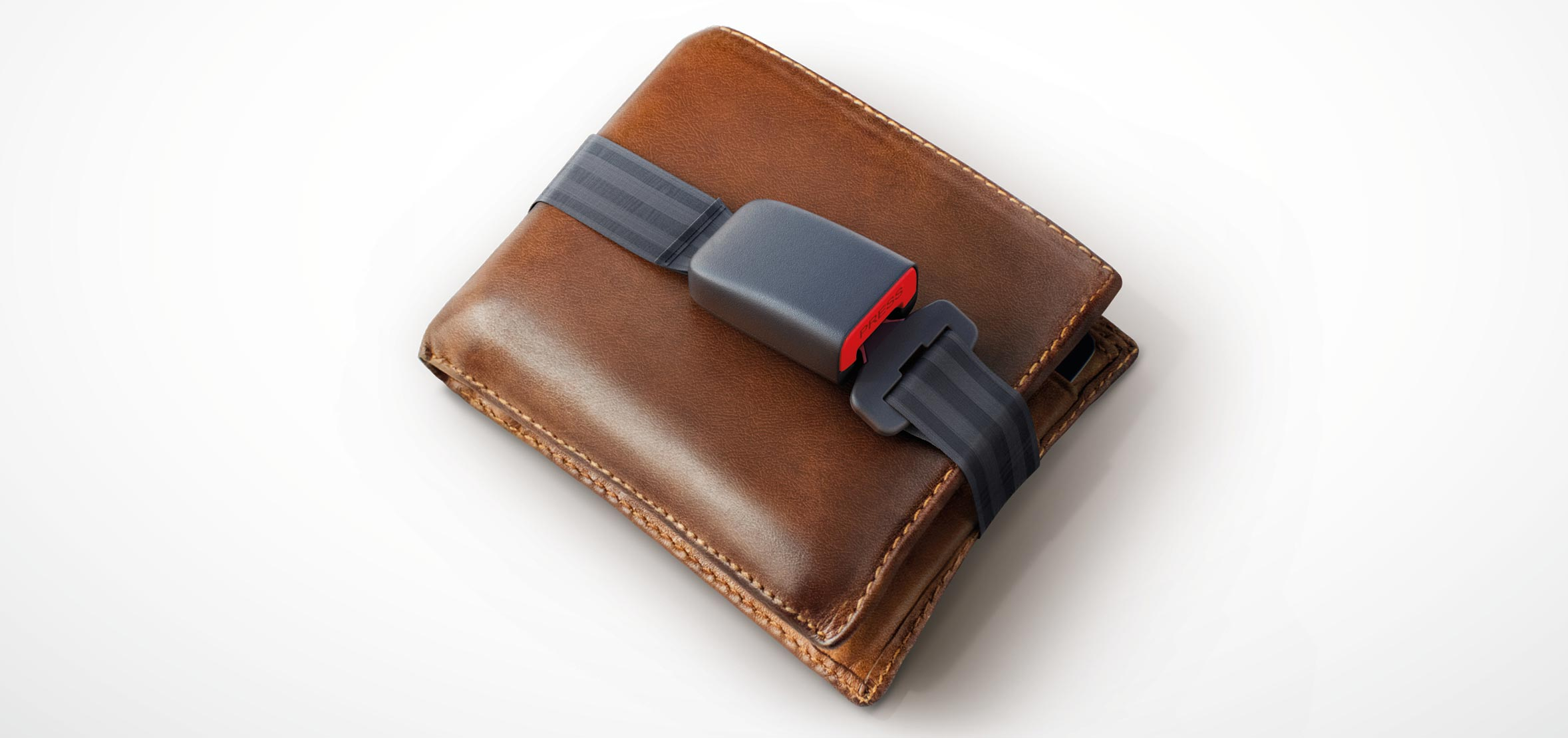 brown wallet wrapped up in a seatbelt