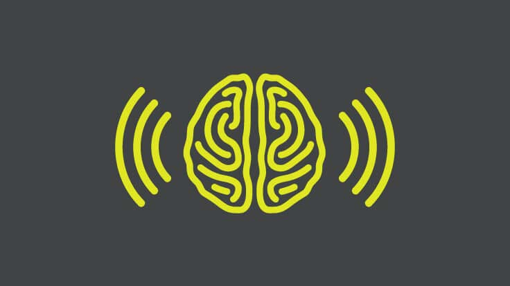 Brain with waves icon