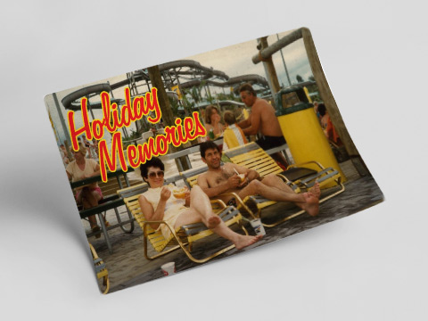 Holiday memories - seatbelts postcard