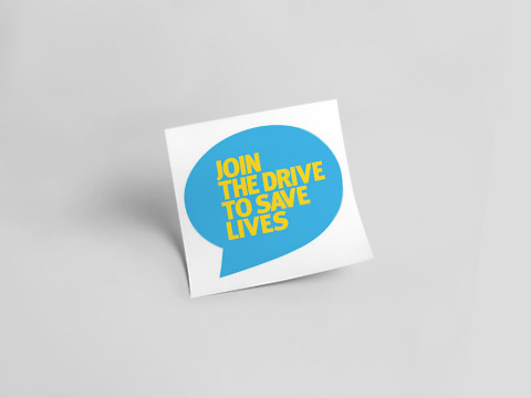 Join the Drive to save lives - blue sticker