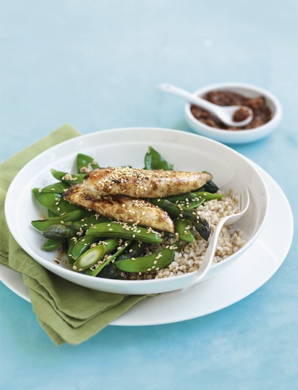 Lime, ginger and five spice chicken with sesame greens