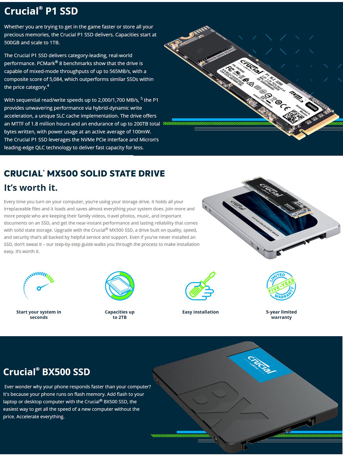 Details about Crucial P1 BX500 MX500 Series 2TB 1TB 500GB 250GB 2 5