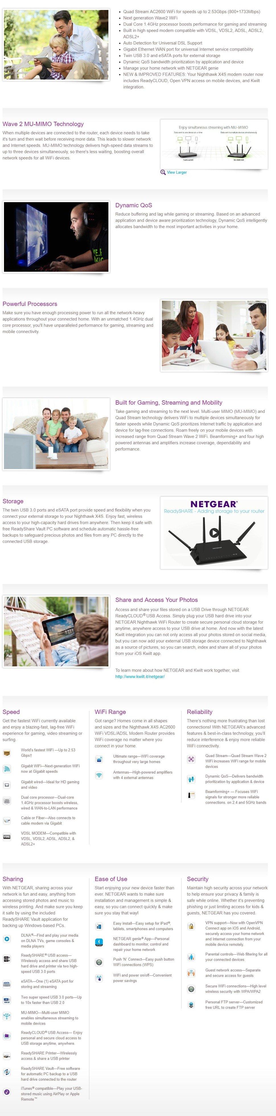 Details about Netgear D7800 Nighthawk AC2600 MU-MIMO Gigabit VDSL/ADSL FTTN  Modem Router 2 5GB