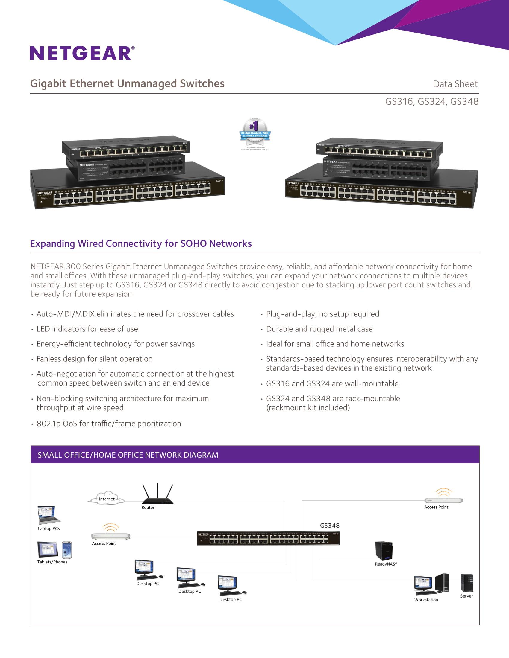 Netgear Soho Gs316 16 Port Unmanaged Gigabit Ethernet
