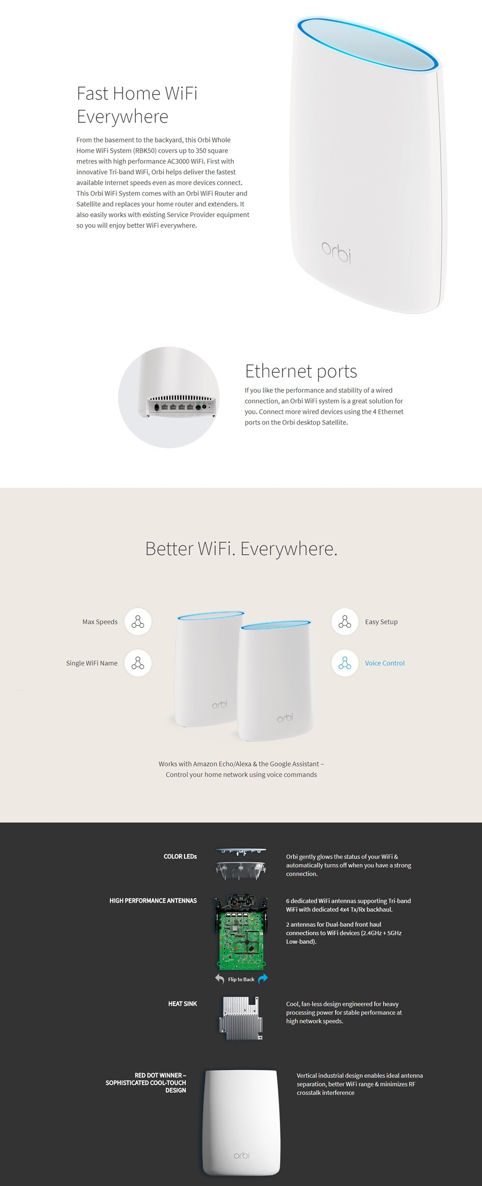 Netgear Orbi Rbk50 Ac3000 Tri Band Wireless Gigabit Router
