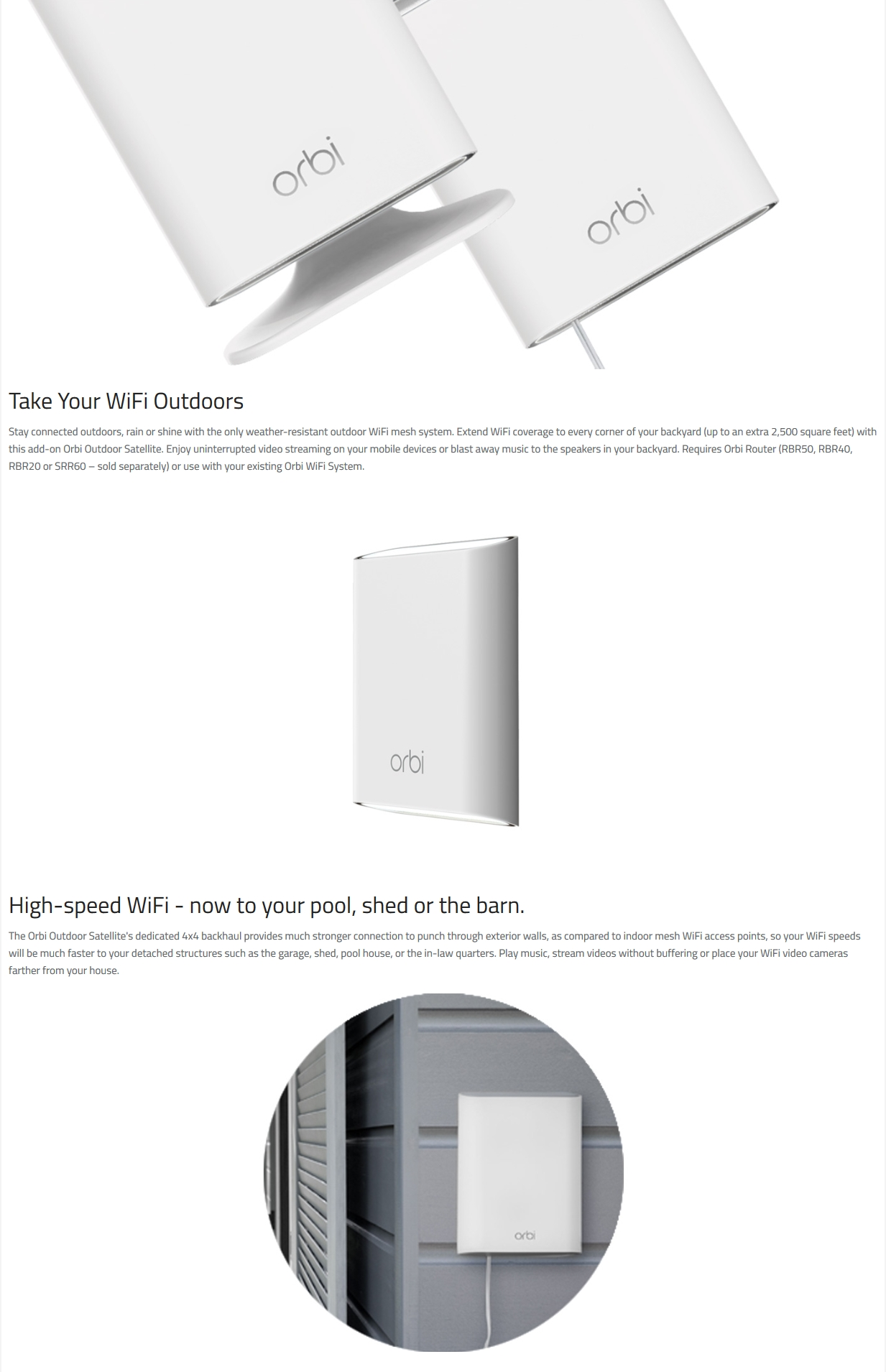 Details about Netgear Orbi Outdoor AC3000 WiFi Mesh Extender Add on  Satellite Only for Orbi