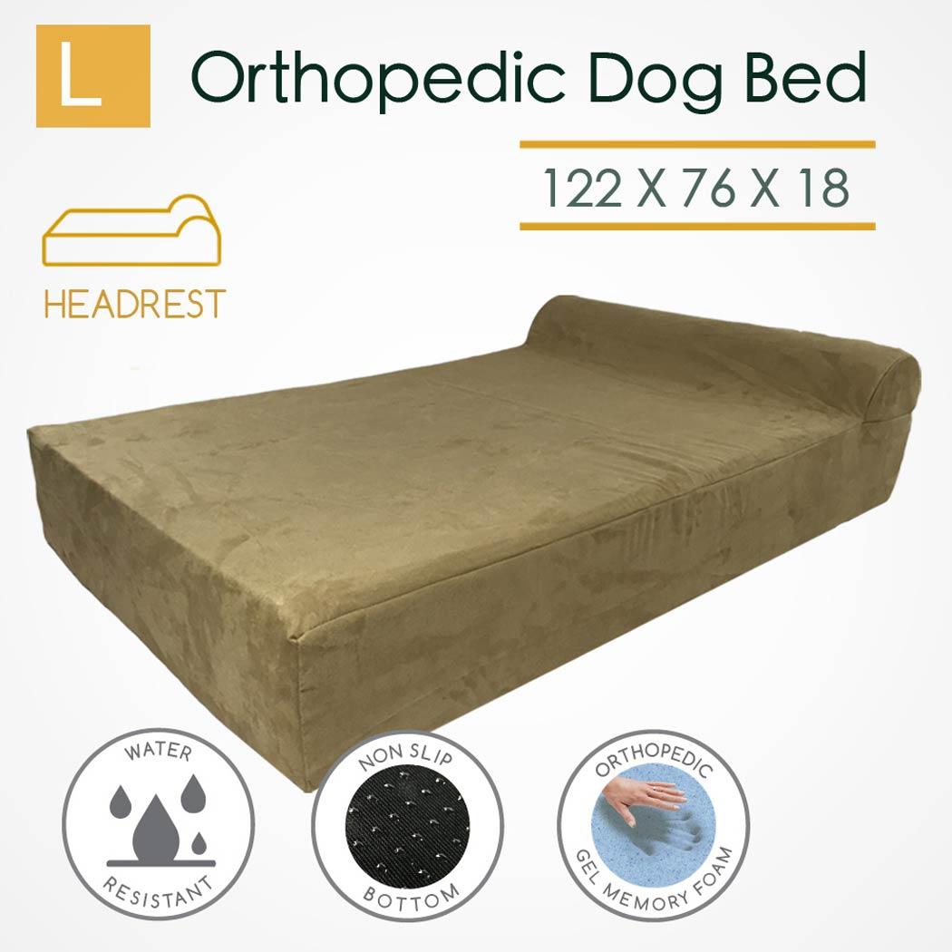 Large Orthopedic Memory Foam Dog Bed Mattress Bolster Pillow Comfy Baby Big Paws Khaki Beige Australia