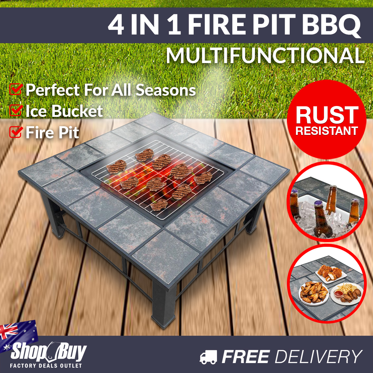 4IN1 Outdoor Camping Fire Pit BBQ Table Patio Grill Fireplace Heater Brazier
