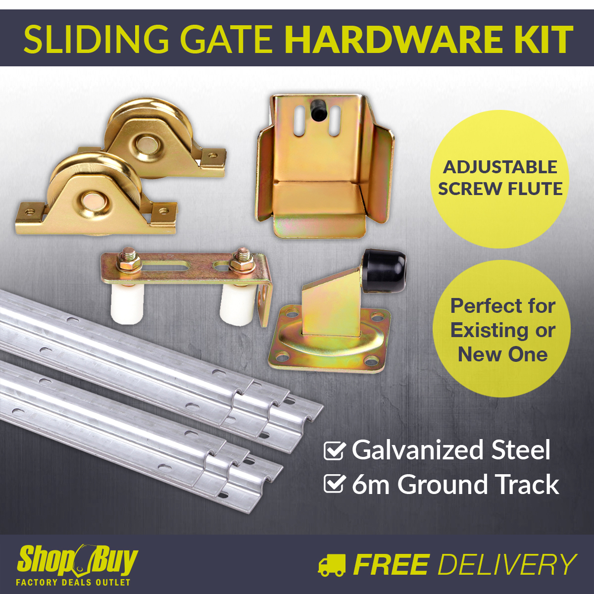 Complete sliding gate hardware package track wheels auto for Home hardware house packages