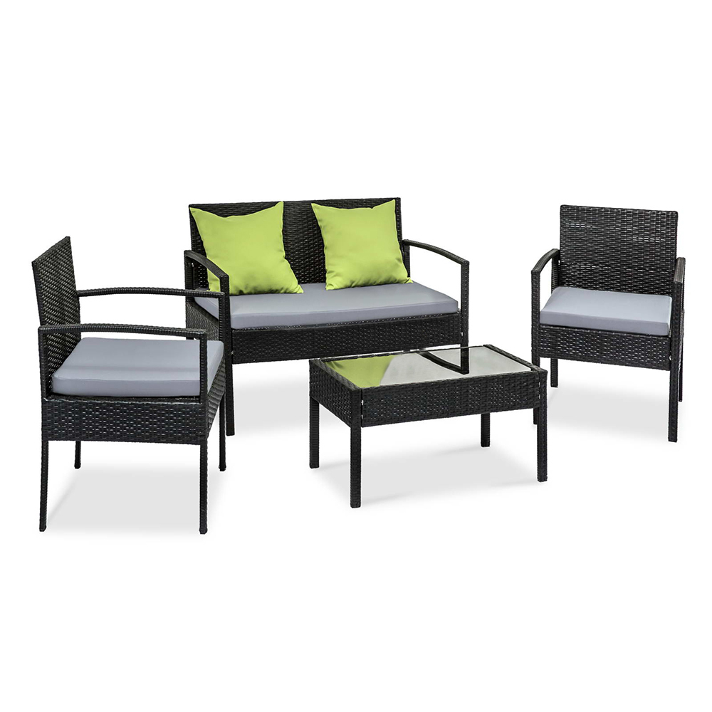 black outdoor wicker chairs. 4Pcs PE Wicker Outdoor Furniture Set Garden Patio Lounge Chairs Table Black