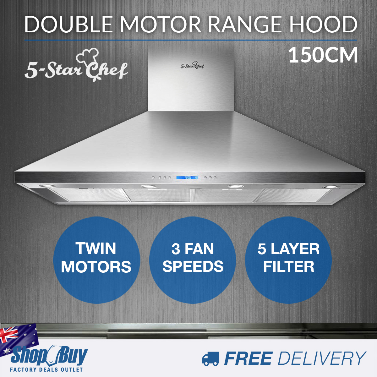 Commercial Rangehood Stainless Kitchen Canopy BBQ Exhaust Fan Range ...